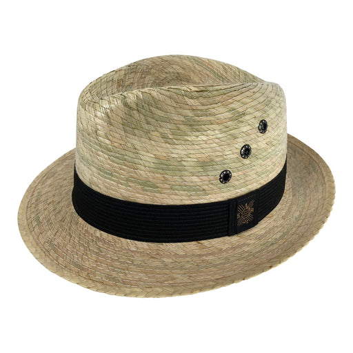 Short Brim Panama Hat Handmade from Coconut Palm Leaves - Light Brown