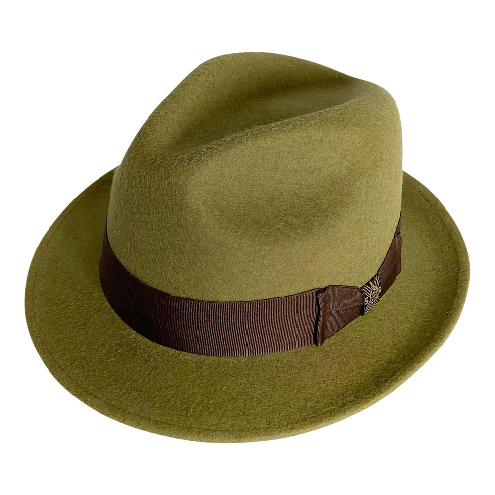 Short Brim Panama Hat Handmade from 100% Oaxacan Wool - Green Olive
