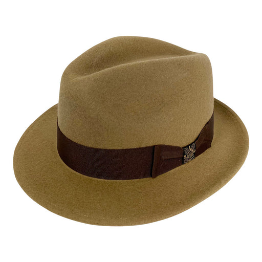 Short Brim Panama Hat Handmade from 100% Oaxacan Wool - Light Brown