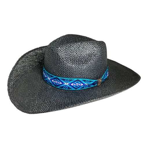 Wide Brim Cowboy Hat Handmade from Oaxacan Wood Pulp Raffia - Black