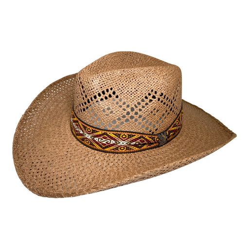 Wide Brim Cowboy Hat Handmade from Oaxacan Wood Pulp Raffia - Dark Brown