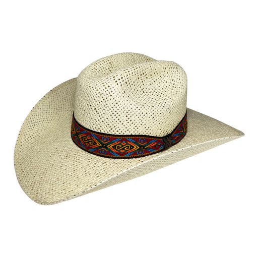 Wide Brim Cowboy Hat Handmade from Oaxacan Wood Pulp Raffia - Light Brown