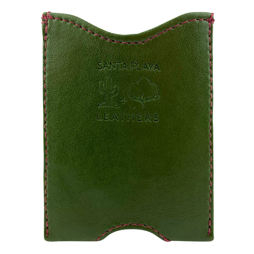 Fruit & Vegetable Front Pocket Wallet - Cactus Leather & Artisan Canvas - Cactus Leather Exterior with Artisan Canvas Interior