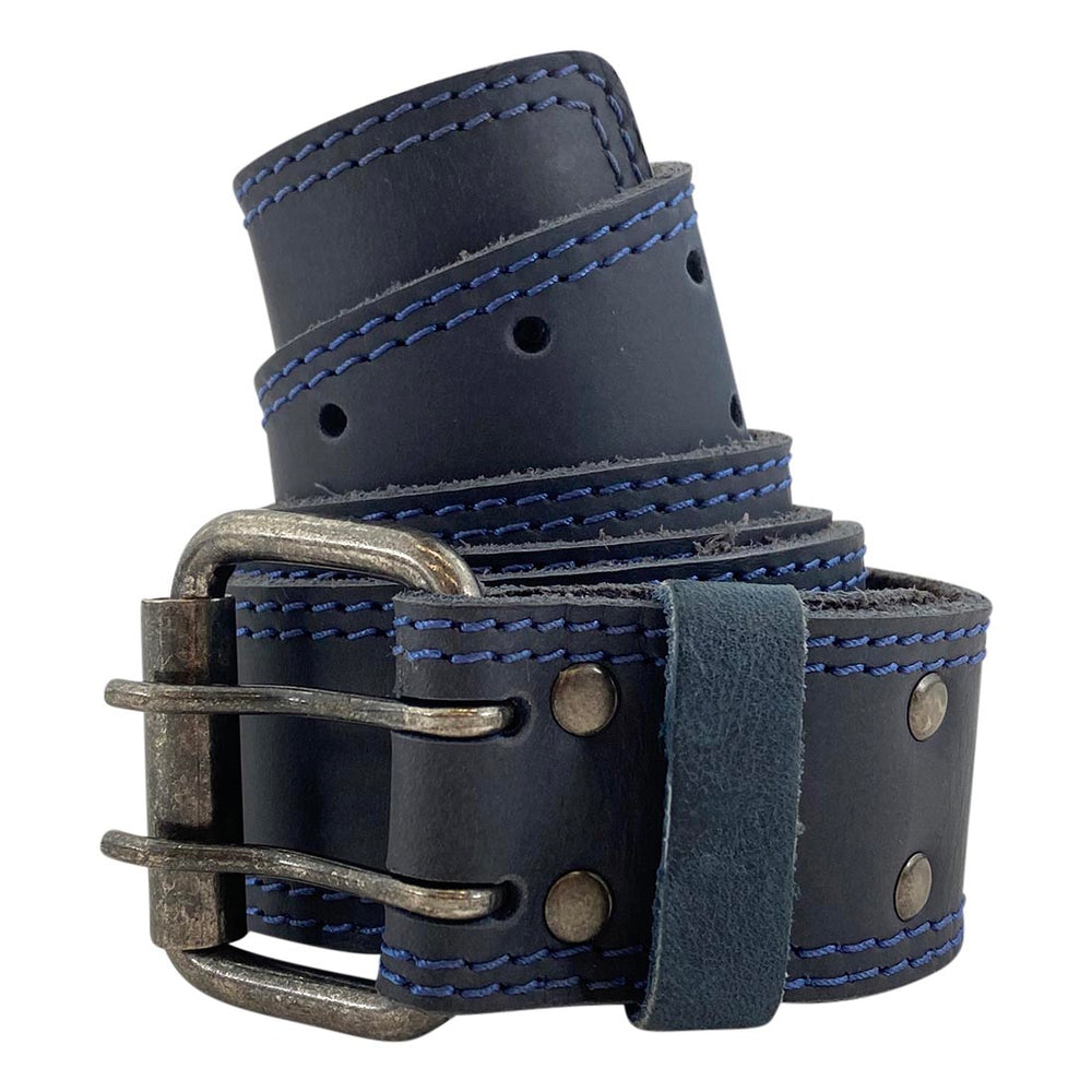 Two Row Stitch Reinforced Double Prong Buckle Belt