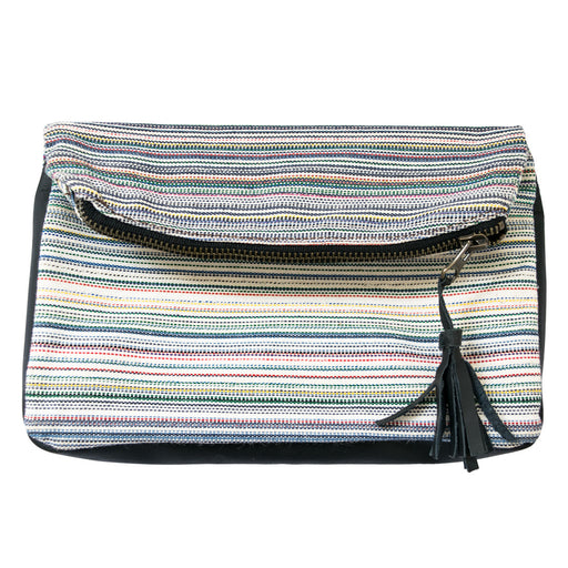 Striped Canvas Clutch Bag