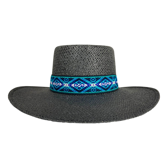 Angel Eyes Wide Brim Hat Handmade from Wood Pulp Raffia - Black