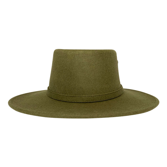 Angel Eyes Wide Brim Hat Handmade from Oaxacan Sheep's Wool - Green Olive