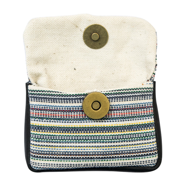 Striped Canvas Coin Pouch