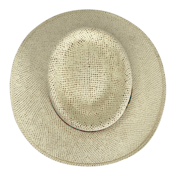 Angel Eyes Wide Brim Hat Handmade from Wood Pulp Raffia - Light Brown
