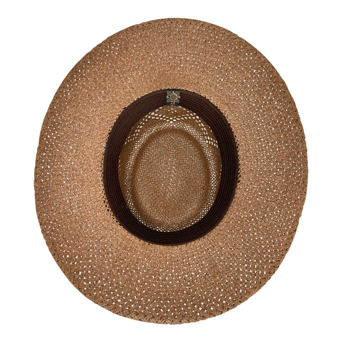 Angel Eyes Wide Brim Hat Handmade from Wood Pulp Raffia - Dark Brown