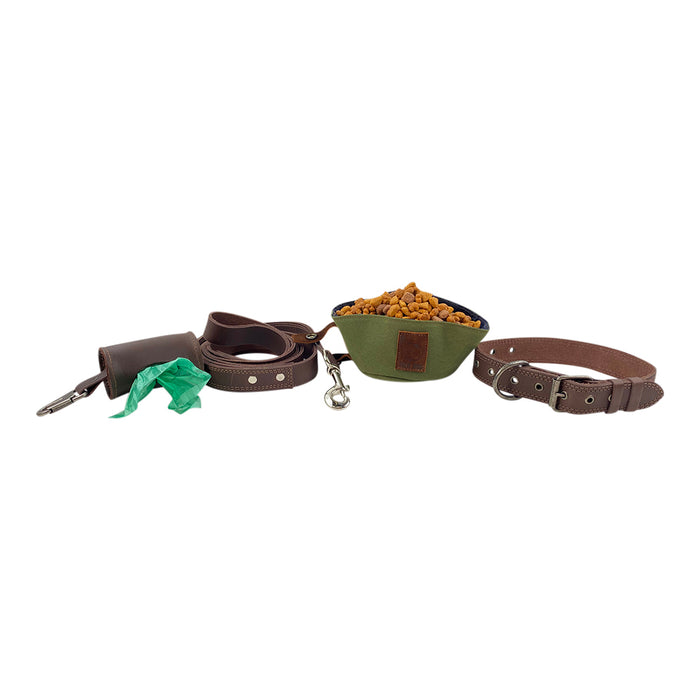 Collar, Leash, Bowl and Poop Bag Carrier