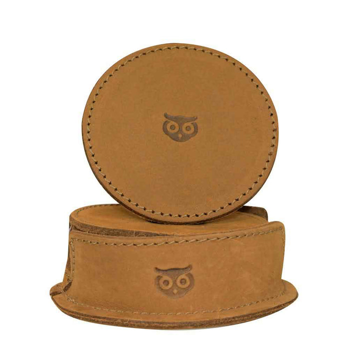 Thick Leather Owl Coasters with Stitching (6-Pack)
