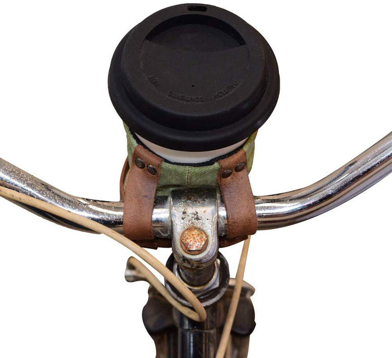Urban Nomad Handmade Includes 101 Year Warranty :: Bourbon Brown Minimalist Bikers Cruzy Leather Bike Handlebar Cup Holder Insulated Beverage Pouch for Commuters City Nomads Cyclers Hide /& Drink