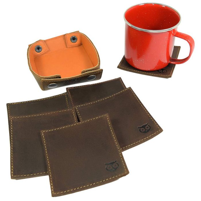 Owl Coaster w/Stitching Square Box Set (6-Pack)