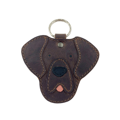 Critter Keychain Labrador Dog Handmade from Full Grain Leather - Key Ring Fob, Cute Stitched Pet Holder Charm Pendant Gift