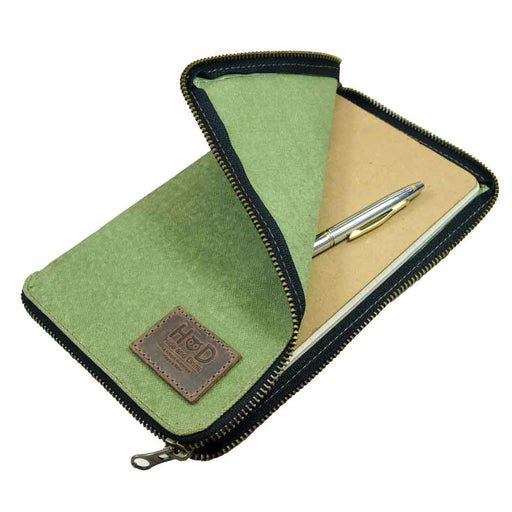 Waxed Canvas Zippered Journal  Cover for Moleskine Large (5 x 8.25 in.) Notebook NOT Included.