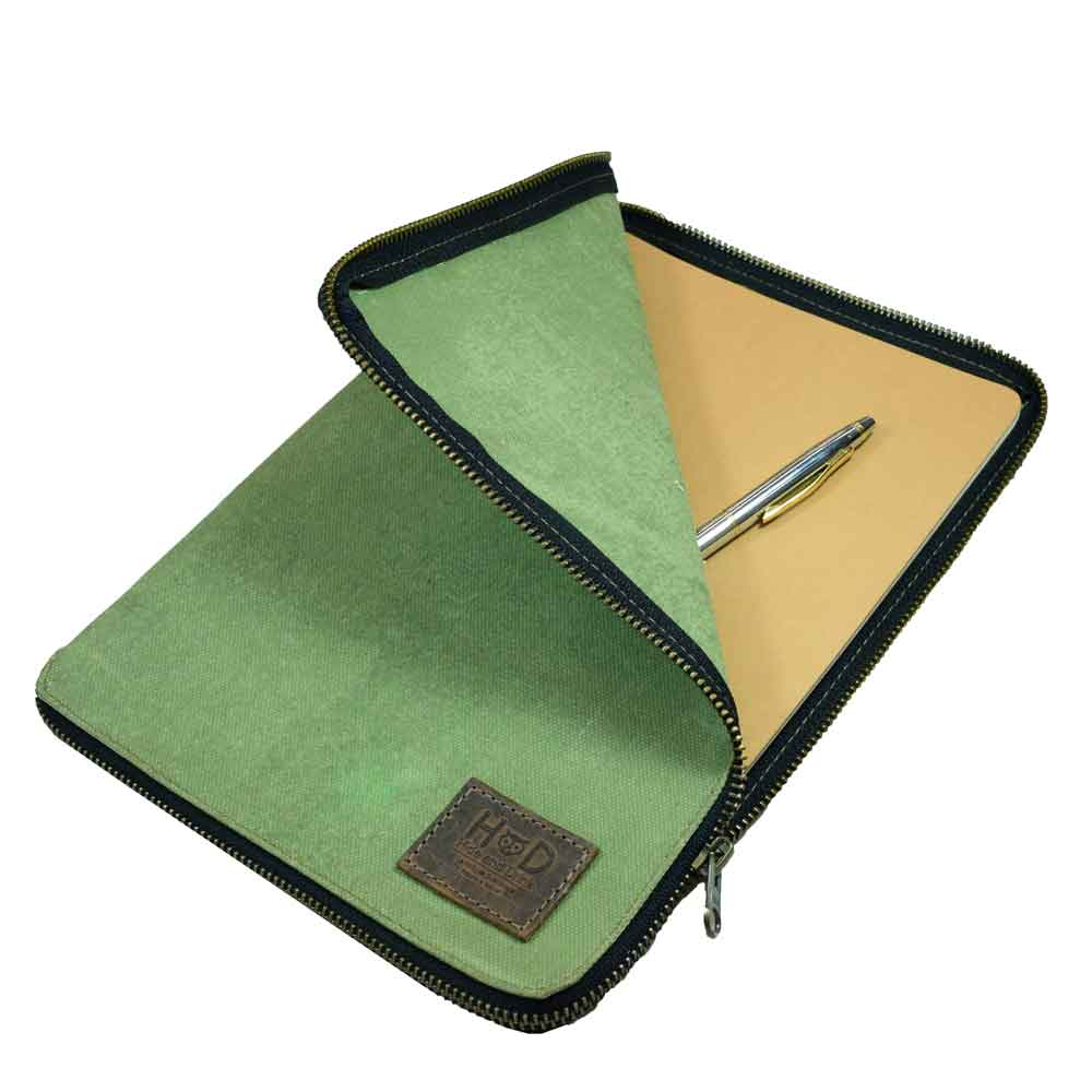 Waxed Canvas Zippered Journal Cover for Moleskine XL (7.5 x 9.75 in.) Notebook NOT Included.