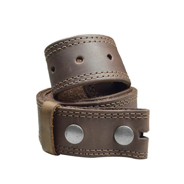Men's Double Stitched Thick Leather Snap On Belt