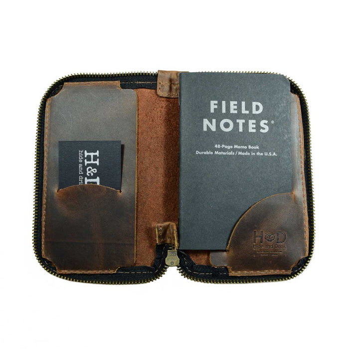 Leather Zippered Journal Cover for Moleskine Pocket (3.5 x 5.5 in.) Notebook NOT Included.