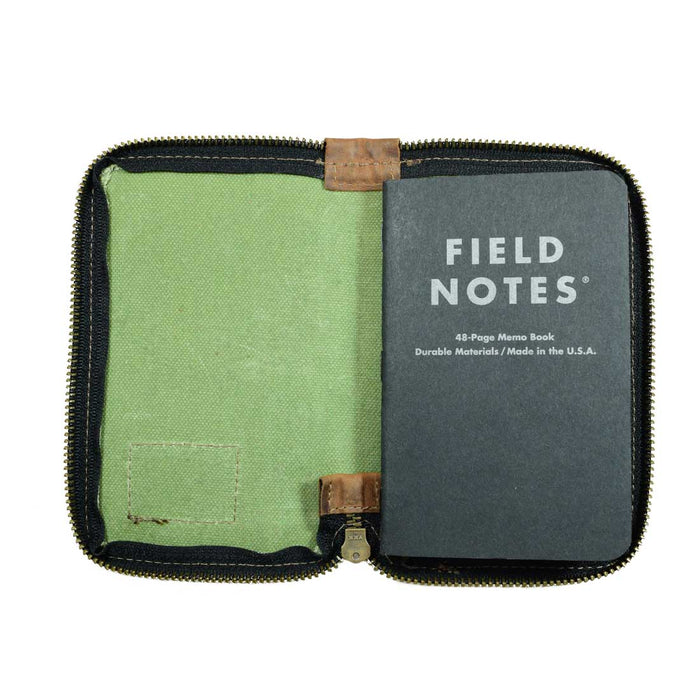 Waxed Canvas Zippered Journal Cover for Moleskine Pocket (3.5 x 5.5 in.) Notebook NOT Included.