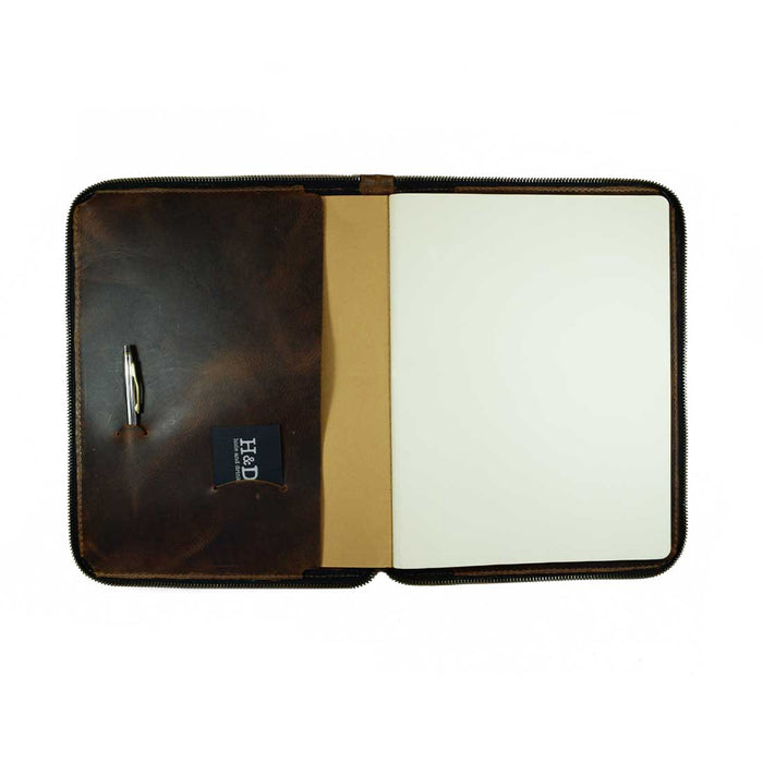 Leather Zippered Journal Cover for Moleskine XXL (8.5 x 11 in.) Notebook NOT Included.