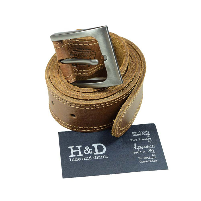 Two Row Stitch Leather Belt