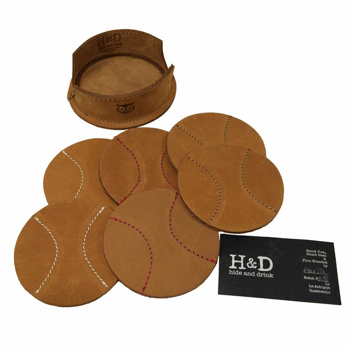 Handmade Bourbon Brown Hide /& Drink Durable Thick Leather Coasters 6-Pack