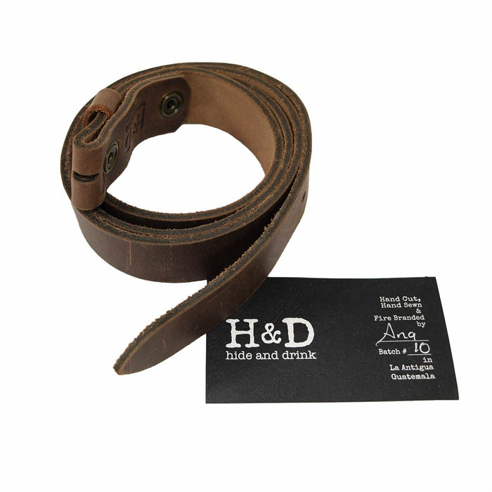 "Rustic Leather Snap On Belt, 7/8"" Width"
