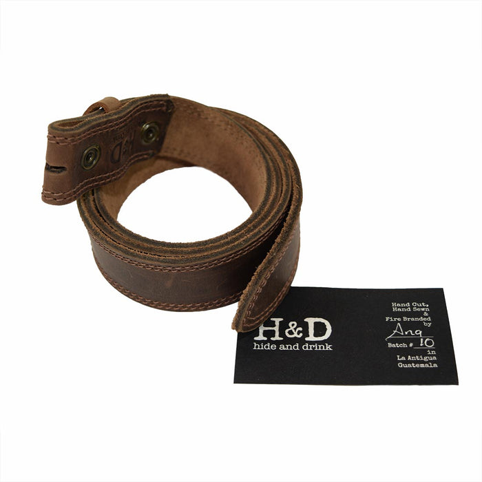 "Two Row Stitch Leather Snap On Belt, 1.25"" Width"