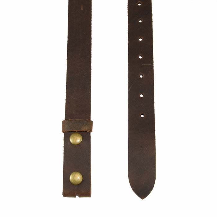 "Rustic Leather Snap On Belt, 1.25"" Width"