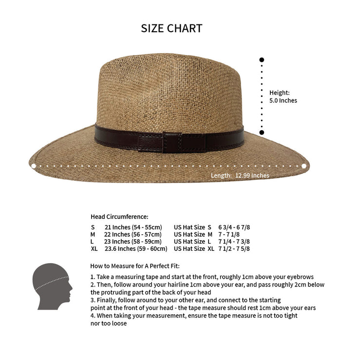 Indiana Eastwood Cowboy Style Hat Handmade from 100% Oaxacan Jute - Cappuccino