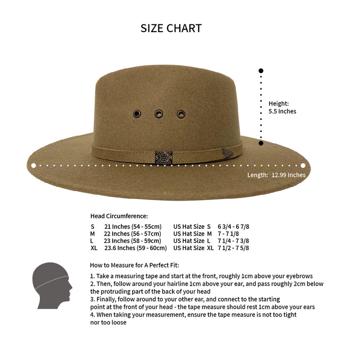 Indiana Eastwood Cowboy Style Hat Handmade from 100% Oaxacan Sheep's Wool - Ranger Green