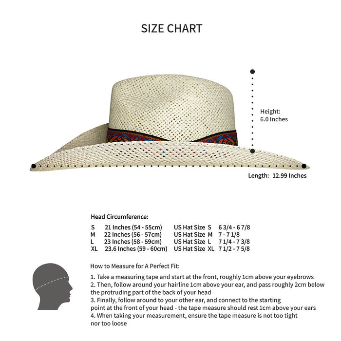 Indiana Eastwood Cowboy Hat Handmade from Wood Pulp Raffia - Light Brown