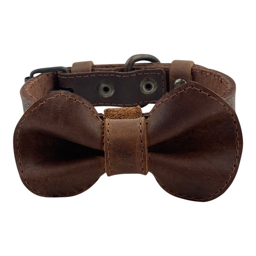 Leather Bow Tie Collar