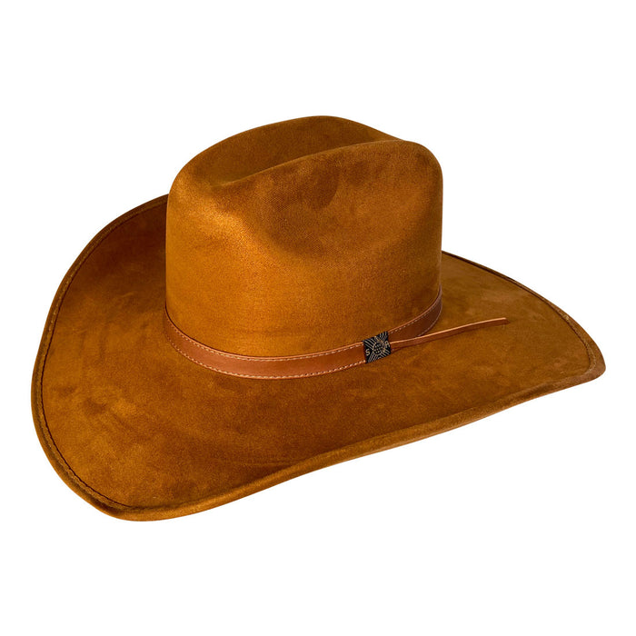 Wide Brim Cowboy Style Hat Handmade from 100% Oaxacan Suede - Old Tobacco Brown