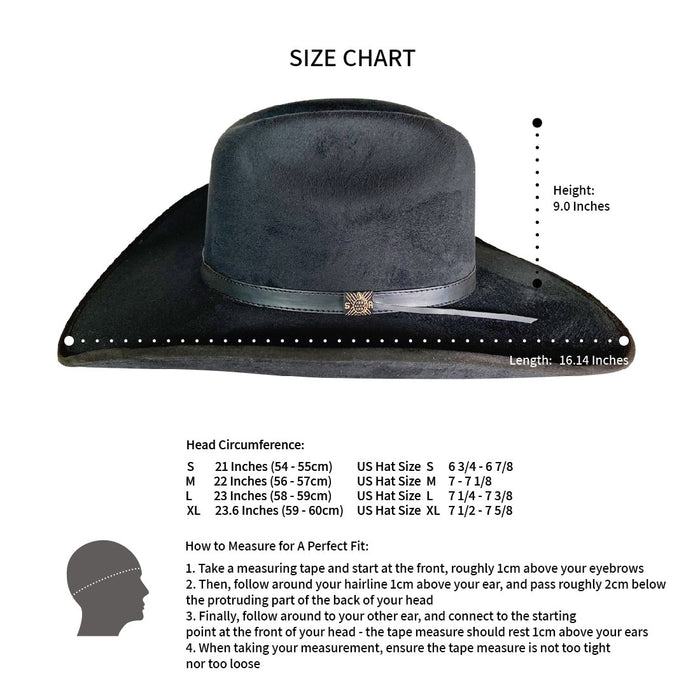Wide Brim Cowboy Style Hat Handmade from 100% Oaxacan Suede - Burnt Black