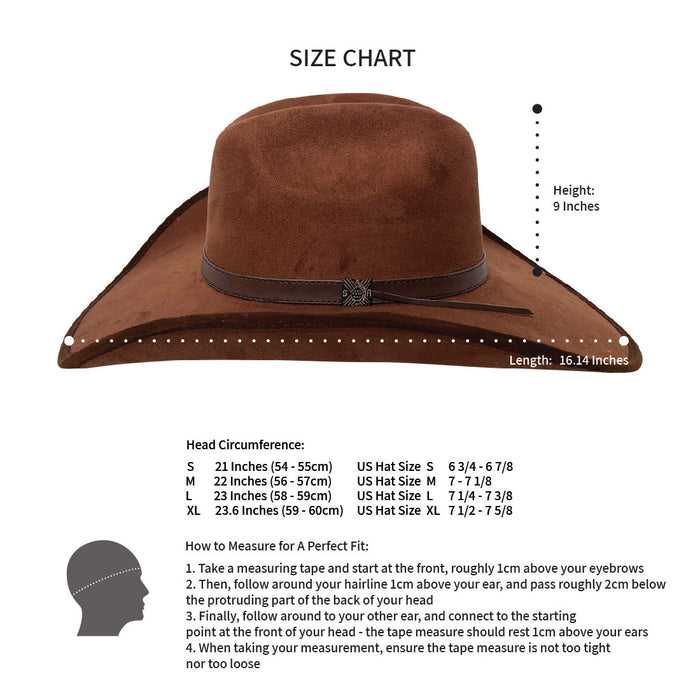 Wide Brim Cowboy Style Hat Handmade from 100% Oaxacan Suede - Chocolate Brown