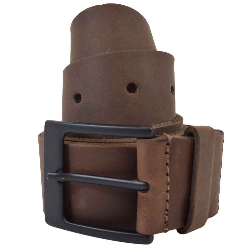 "Rustic Leather Belt / Rustic Charcoal Buckle, 1.25"" Wide"
