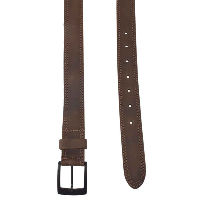 "Two Row Stitch Leather Belt / Rustic Charcoal Buckle, 1.25"" Wide"
