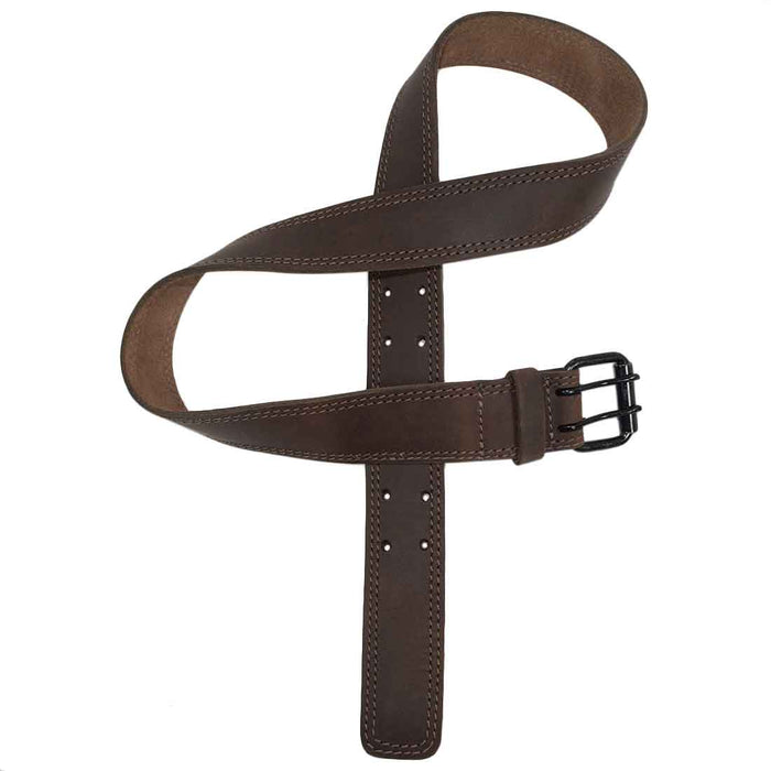 "Two Row Stitch Leather Belt / Rustic Charcoal Double Prong Buckle, 1.5"" Wide"