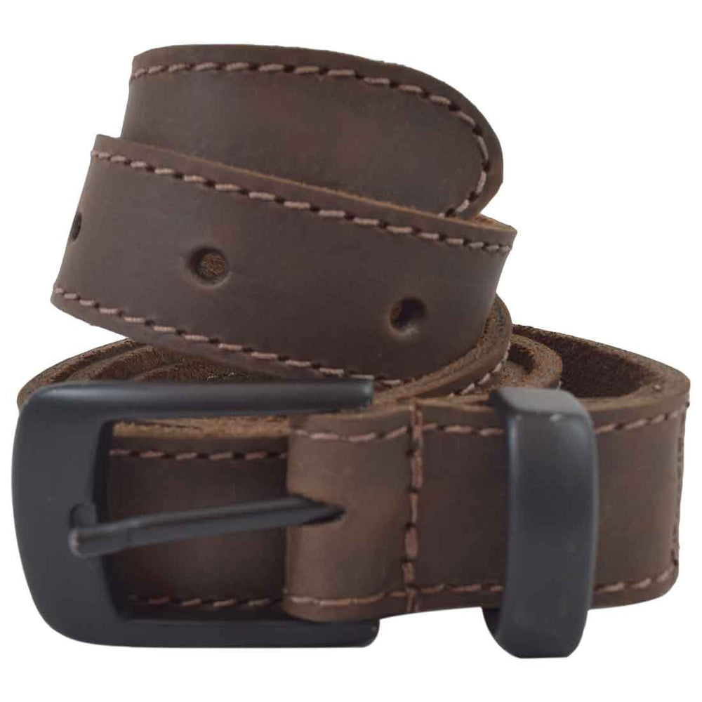 "Two Row Stitch Leather Belt / Rustic Charcoal Buckle, 7/8"" Wide"