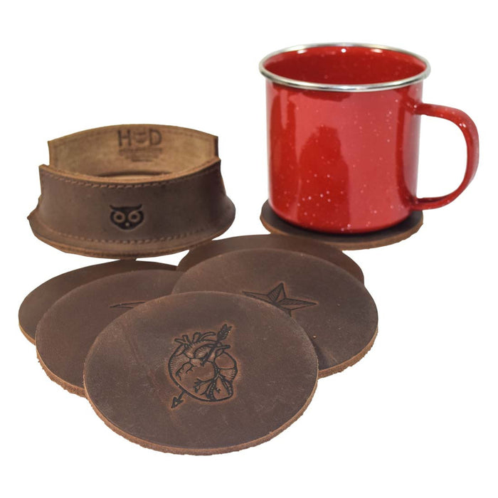 Thick Leather Moon, Star and Heart Coasters (6-Pack)