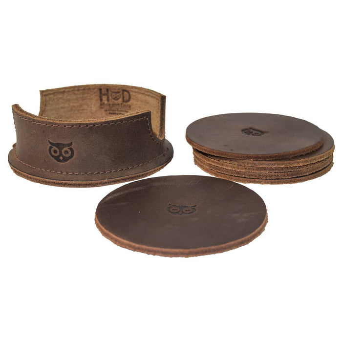 Thick Leather Owl Coasters (6-Pack)