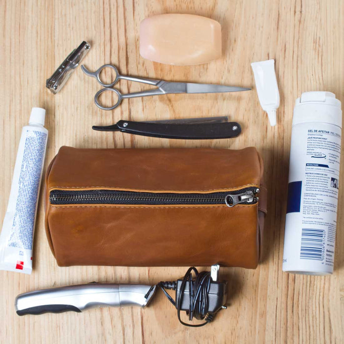 Leather Triangle Dopp Kit by Hide and Drink - Colombian Cappuccino