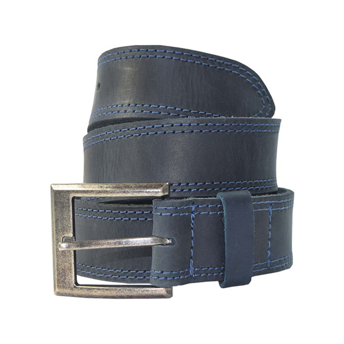 Two Row Stitch Thick Leather Belt