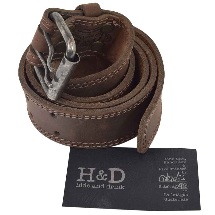 "Two Row Stitch Reinforced Leather Belt / Rustic Double Prong Buckle, 1.5"" Wide"
