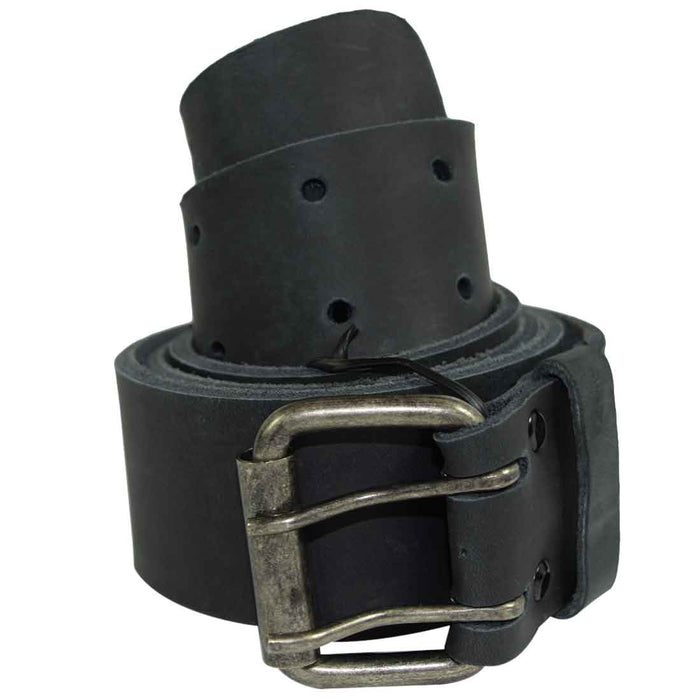 "Rustic Reinforced Leather Belt / Rustic Double Prong Buckle, 1.5"" Wide"