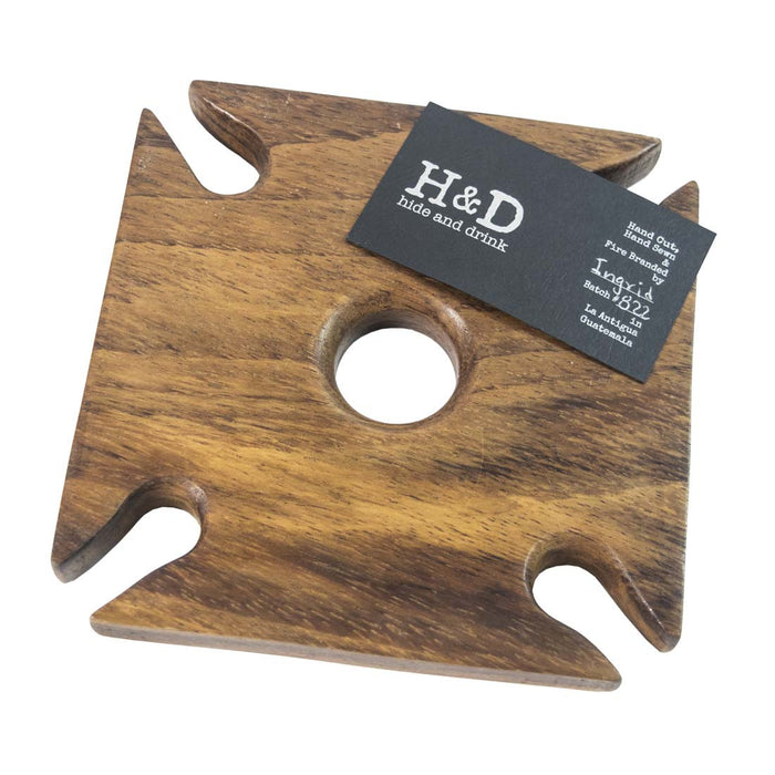 Square Wood Wine & Glass Holder