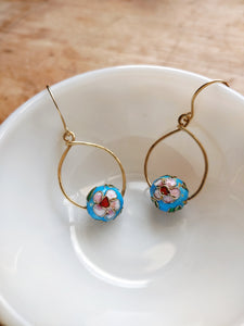 Hammered Teardrop Cloisonne Earrings -  Shanghai