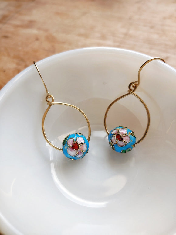Teardrop Cloisonne Earrings Raw Brass -  Shanghai